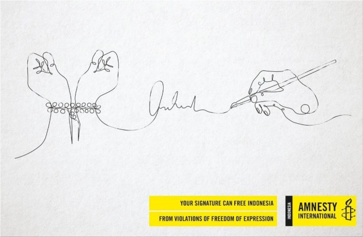 "Amnesty International ""Your signature can free Indonesia"""