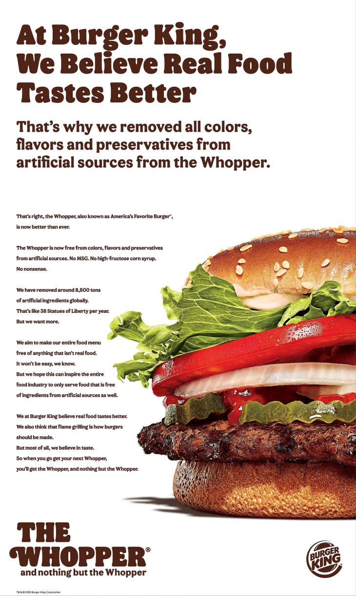 "Burger King ""Whopper and nothing but the Whopper"" ads"