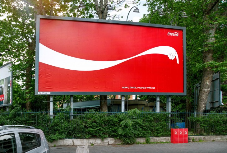 """Coca-Cola """"open, taste, recycle with us"""""""