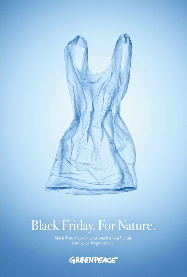 """Greenpeace """"Black Friday For Nature. Don't buy more garbage!"""""""