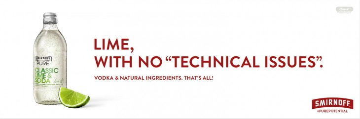 """Smirnoff: """"Lime, with no """"Technical Issues"""""""""""