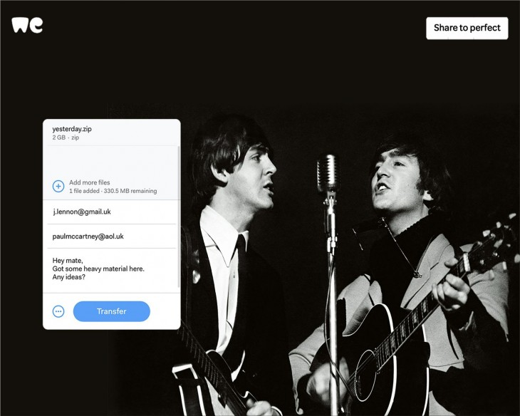 """WeTransfer """"Share to Perfect"""""""