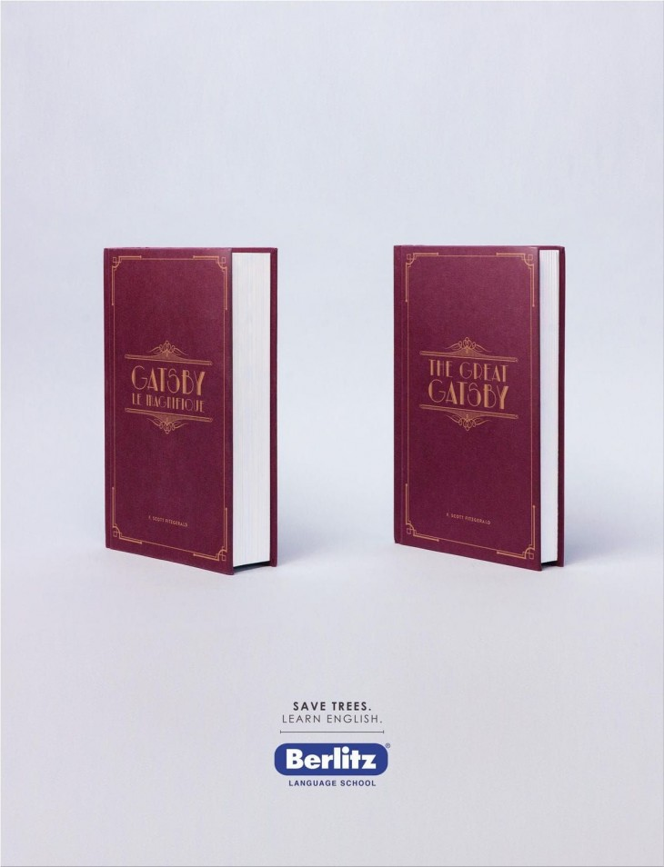 "Berlitz: ""Save trees. Learn English."" by Rethink"