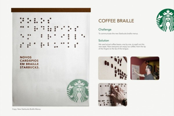 Starbucks Braille Menus