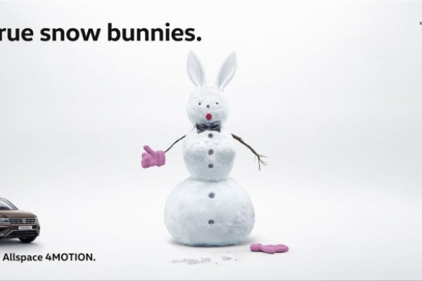 "Volkswagen: ""For true snow bunnies."""